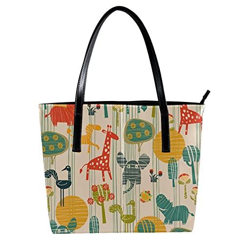 LORVIES Giraffe Elefant Nilpferd Vogel Blume Schultertasche PU Leder Handtasche Handtasche Damen