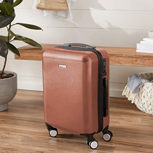 AmazonBasics Hardshell Spinner Suitcase with Built-In TSA Lock, 22.8-Inch, Rose Gold