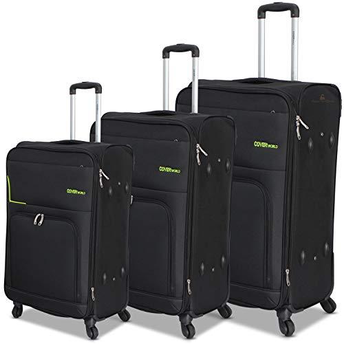 Set 3 valigie di Coveri World espandibile in poliestere con 4 ruote (Black)