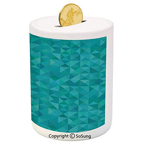 Teal Ceramic Piggy Bank,Geometrical Shapes Triangles Squares Modern Abstract Art Different Shades of Blue Decorative 3D Printed Ceramic Coin Bank Money Box for Kids & Adults,Turquoise Aqua