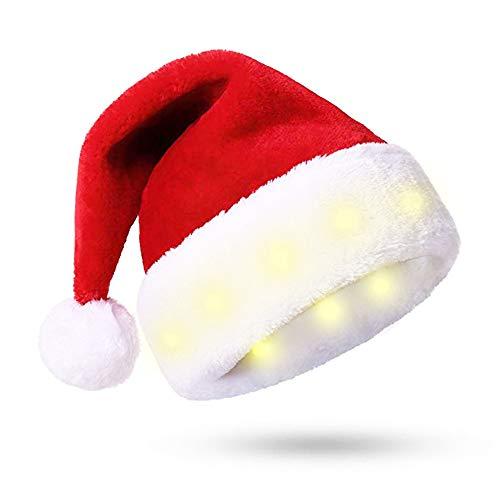 Weihnachtsmütze mit 8 LED Leuchten -Weiches Plüsch-Kunstfell für Erwachsene Weihnachtsmütze - Neuartige und Interessante LED Lichter Weihnachtsdekoration - Weihnachtsschmuck (Warmes weißes Licht)