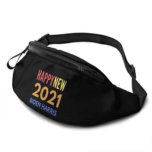 JONINOT Paquete para Hombres, Mujeres, 2021 Feliz año Nuevo Biden Harris Riñonera Informal para Exteriores para Entrenamiento, Viajes, Senderismo