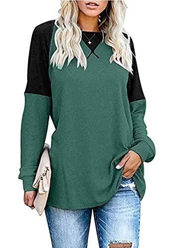 herdress Damenoberteile Langarm Pullover mit Rundhalsausschnitt Dekorative Raglan-Nähte Kontrastfarbene Tunika GN L