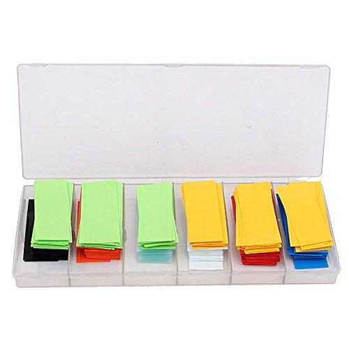 Schrumpfschlauch Set, 29,5 mm 280 Stücke Klebstein Kombination flach PVC Schrumpfschlauch Akku Schutz Sleeve für 18650 Akku (8 Farben)