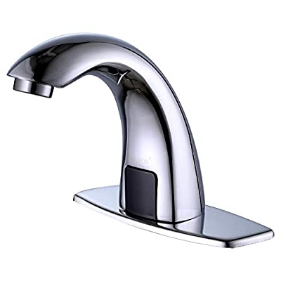 Derpras [Upgrading Version] Automatic Sensor Touchless Sink Faucet with Hole Cover Plate, Hands Free Bathroom Faucets with Hot & Cold Mixer Control, Chrome
