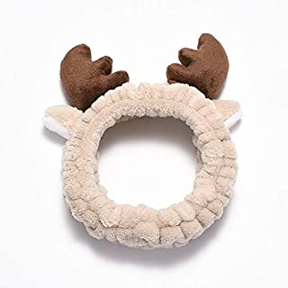 Hair band Girls Stretch Hair Band Christmas Antlers Headband Wash Face Spa Coral Velvet Comfortable Headband MJZCUICAN (Color : Khaki, Size : Free)