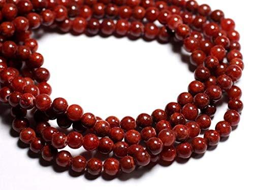 World Wide Gems Cuentas de piedras preciosas 20 piezas – Ladrillo rojo Jade Piedra – Cuentas 6mm Code-HIGH-69592