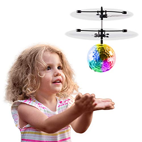 Hand Operated Kids Flying Drone, Indoor Outdoor Rechargeable Infrared Induction RC Helicopter Toy - Colorful Disco Ball Light, Best Easter Gift & Birthday Present Idea 2020 for Boys Girls & Adults