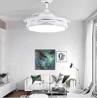 Ventiladores de techo modernos Ventilador de techo invisible con control remoto 36 pulgadas 42 pulgadas LED regulable incluido 220V 110V, 36 pulgadas, blanco