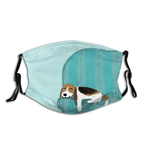 Lilyo-ltd Unisex Face Cover Up,Happy Couch Dog Cute Beagle Relaxing Washable Reusable Cloth Mask Protect Cover Breathable Bandana Balaclava for Summer Cycling and Hiking Outdoor Shopping