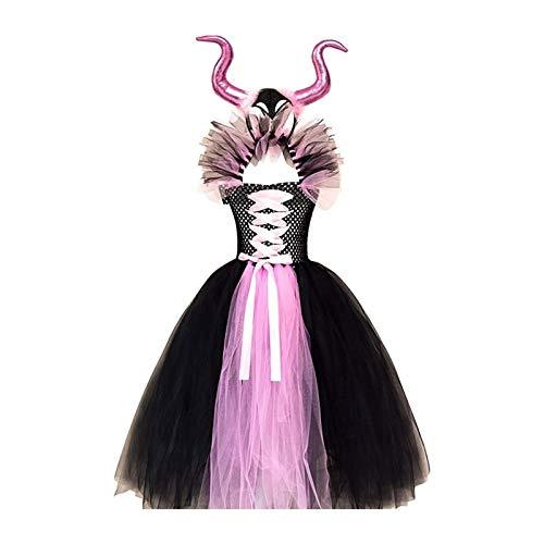 SADWF Disfraz de Bruja Malvada Maléfica para Niñas y Bebés,Disfraz de Reina,Disfraz de Tutú Elegante,Disfraz de Halloween,Disfraz de Fiesta,Cuerno del Diablo y Plumas,Conjunto de Alas de Ángel