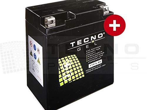 TECNO-GEL Motorrad-Batterie YTX7L-BS, 12V Gel-Batterie 6Ah (DIN 50614), 114x70x130 mm inkl. Pfand