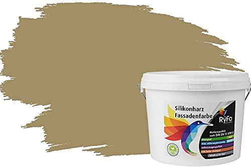 RyFo Colors Silikonharz Fassadenfarbe Lotuseffekt Trend Olivgelb 3l - bunte Fassadenfarbe, weitere Gelb Farbtöne und Größen erhältlich, Deckkraft Klasse 1