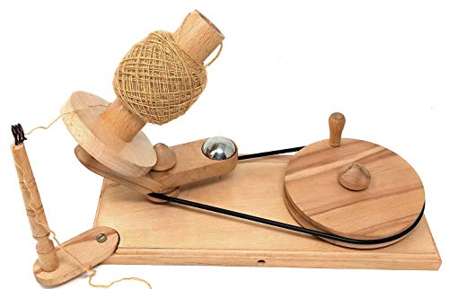 Galaxy Indiacraft Wooden 14.5 cm Dia Big Wheel Hand Operated Rapid Yarn Ball Winder | Swift, Yarn, Wool, and String Holder| Knitting & Crochet Accessories (Light Wooden)