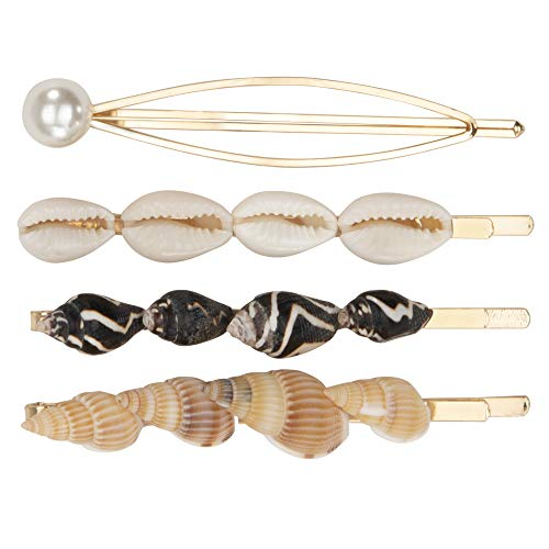 Madison Tyler Hair Collection 4 Pcs Pearl and Seashell Non Slip Claw Hair Clamp Clip Set Accessory for Women's Thick Hair - Gold Plated