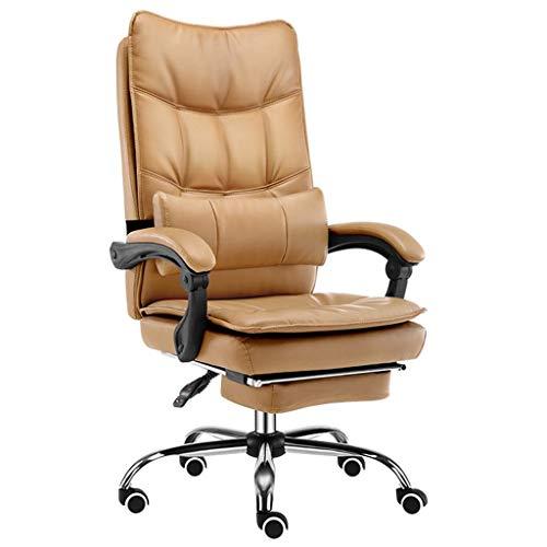 Bürostuhl Lehnstuhl Stühle, Leder Computer-Stuhl Ergonomischer Vorstand Schwenker Mit Lumbalpelotte Fußbank for Privatanwender (Color : Yellow)