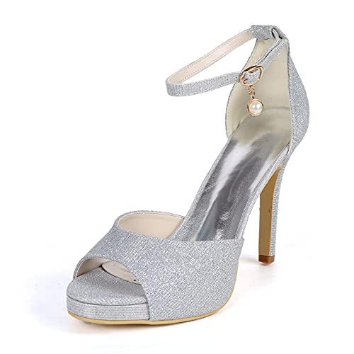 Mujer Zapatos De Novia Tacón Stiletto Sandalias con Punta Abierta Hilo De...