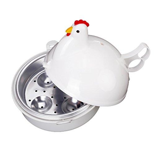 MagiDeal Huhn Form Mikrowelle Eierkocher, Spülmaschinenfest - 4 Eier