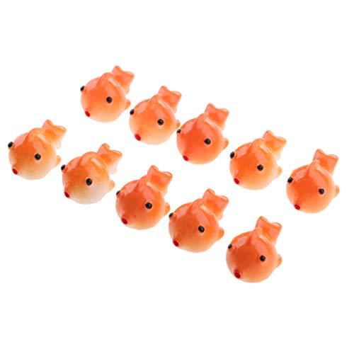 D DOLITY 10x Poissons en résine Figurine de Terrarium Ornements Paysage Goldfish - Orange