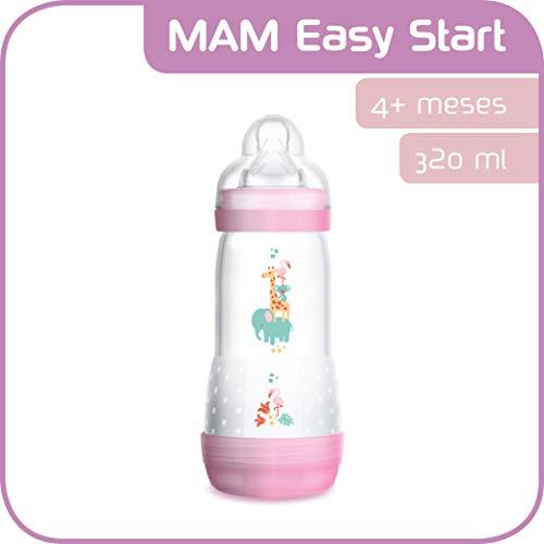 MAM Easy Start Anti-Colic 320 ml, Biberón anticólicos con base de ventilación, biberón MAM autoesterilizable con tetina MAM nº 3 de silicona extrasuave, 4+ meses, rosa