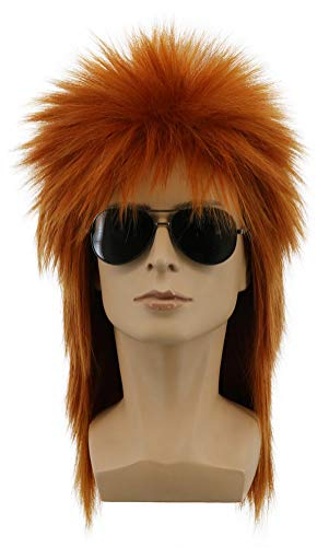 Yuehong Mullet Style Heavy Metal Halloween 70s 80s Red Orange Wig For Men Women Spiked Rocker Wig (Brown)