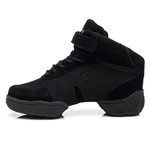HROYL Mujer Zapatos de Jazz Zapatos de Baile Moderno Zapatos Deportivos Zapatillas de Baile Dance Sneakers B53A Negro 40 EU