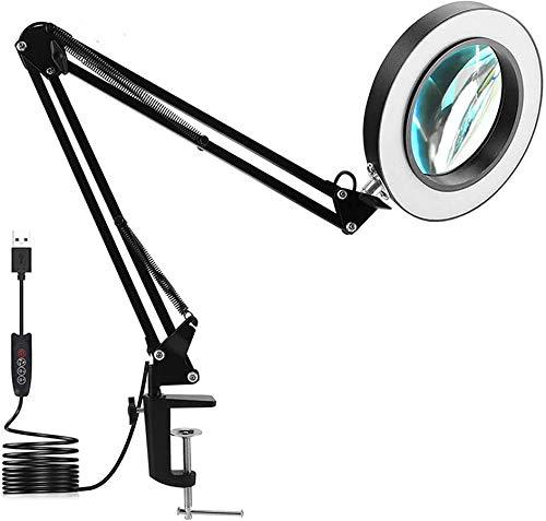Lámpara de escritorio con aumento, 5 lámparas LED USB con abrazadera ajustable para el cuidado de los ojos, rotación de 360 ° 10 brillo para el hogar lámpara LED de escritorio de lectura mesa