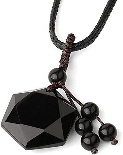 YOUZYHG co.,ltd Collar Piedra Natural Hexagram Colgantes Glándula Cuerda Trenzada Collares de Estrella para Mujer Joyería 45 cm