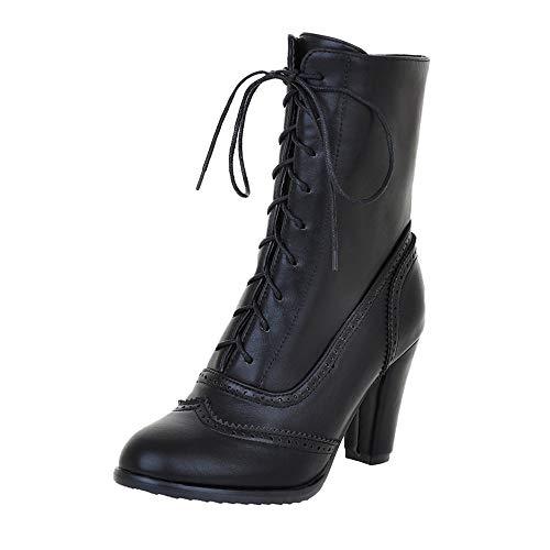 Riou Damen Klassische Spitzleder Schnürstiefel mit Hohem Absatz Middle Röhre Elegant Freizeit Ankle Schuhe Boots (38 EU, Schwarz)
