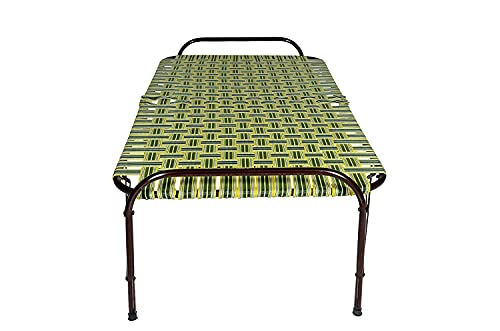 STMMZ® India Portable Single Folding Bed Heavy Duty Foldable Bed Frame Khat Cot, Sturdy Metal Bed Frame Space Saving Design Strong Plastic Niwar Folding Beds (3X6 Feet, Multicolor)