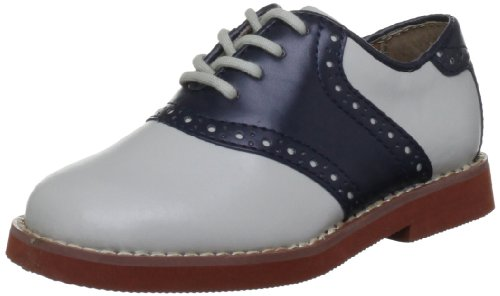 Florsheim Kids Boy's Kennett Jr.Plain Toe Saddle Shoe, Bone/Navy, 13 Medium Little Kid