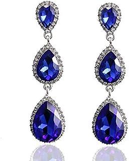 Sapphire Crystal Earrings Swarovski Element Eardrops for Women
