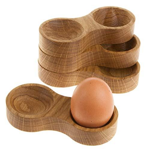 Rasch Design Eierbecher Holz mit Mulde für die Eierschalen | aus edlem Massivholz (Eiche, 4)