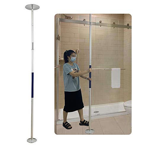 Security Pole Shower Grab Bar Tension Mounted Floor to Ceiling Pole Stand Up Assist for Elderly Transfer Pole Handicap Bathroom Safety Bars for Bathtub Toilet Assist Rails