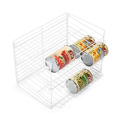 Smart Design 3-Tier Can Rack Organizer - Adjustable - Steel Metal Wire - Pantry, Spice, Cabinet, Under Sink, Fridge Storage Organization - Kitchen (14.5 x 10.25 Inch) [White]