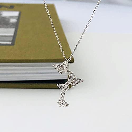 ShSnnwrl Colgante Collar con Colgante de Mariposa de Cristal con Incrustaciones de Plata de Ley 925, Accesorios de joyería para v