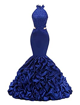Sexy Halter Long Mermaid Prom Dresses Appliques Open Back Beaded Formal Evening Dresses for Women 2018