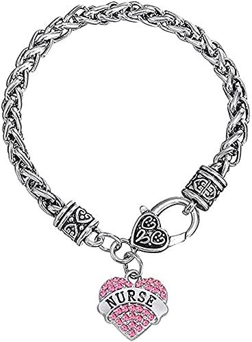 LBBYLFFF Collar Pulsera de Plata Crystal Rose Rhinestone Heart Charm Langosta Garra Pulsera de Trigo Pulsera Longitud de la Cuerda 20 cm Hombres Mujeres Pulsera Pulsera Sistert