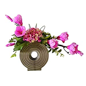 NYKK Decoration Artificial Silk Flowers Bouquet Used for Home Office Parties and Wedding Artificial Magnolia Bonsai Simple Style (Dark Pink) Table Centrepieces