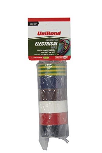UNIBOND, Nastro isolante da elettricista (Confezione da 6, colori assortiti) 19 mm X 3.5 M