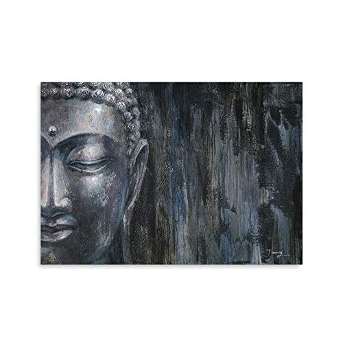 B BLINGBLING Buddha Canvas Wall Art Print: Black Buddha Pictures Wall Decor Buddha Paintings for Living Room Office with Frame Ready to Hang (24''x32''x1 Panel)