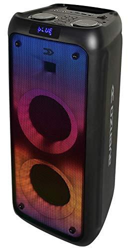 Avenzo - Altavoz Bluetooth, Modelo AV-SP3203B, Potencia de 250 W, Con Luz de LED, Entrada USB y microSD, Con Asa de Transporte, Dimensiones: 25 cm x 24,2 cm x 59,5 cm, Color Negro