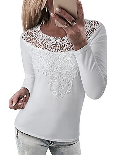 YOINS Camiseta sexy de manga larga para mujer, blusa de encaje para mujer, blusa tirolesa de encaje, moda patchwork, camiseta blusa. A-blanco. L