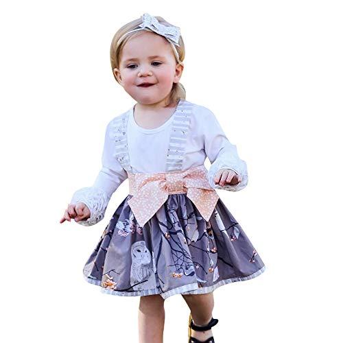 Ratoop Conjunto de Ropa de bebé para niña de 2 Piezas, Ropa de Navidad de algodón, Playera de Manga Larga sólida + Falda de Princesa con Estampado de Lazo para Invierno,...