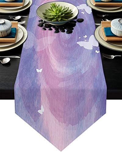 COMMER Camino de mesa, diseño de mariposa, color blanco, ideal para decoración de mesa para bodas, ceremonias/banquetes (33 x 228 cm)