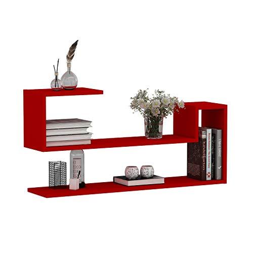 mensole da muro rosse WAVE Mensola da muro - Mensola Parete - Mensola Libreria - Scaffale pensile per studio / soggiorno in Design moderno (Rosso)