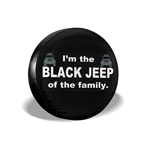 """I'm The Black Jeep of The Family Universal Tire Cover Wheel Tire Cover Fit for Jeep SUV 17"""" for Diameter 31""""-33"""""""