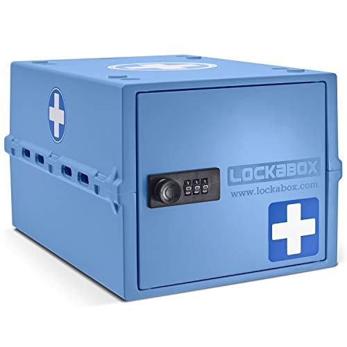 Lockabox One | Caja de seguridad compacta e higiénica para alimentos, medicinas y seguridad en el hogar (Medi Blue)