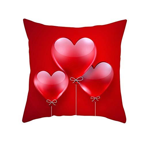 Fundas de Cojines Funda de Cojín Globo de amor rojo Cojines Decoracion Terciopelo Suave Fundas de Almohada Cuadrado para Sofá Cama Sillas Coche Dormitorio Decorativo Hogar M1735 Pillowcase,50x50cm