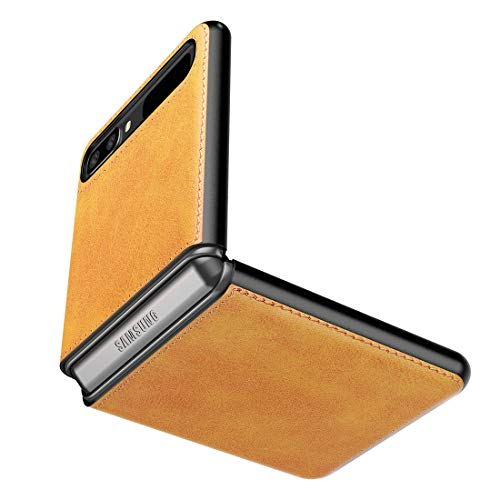 Cresee Hülle für Samsung Galaxy Z Flip 5G / Galaxy Z Flip, PU-Leder Handyhülle Hülle Schutzhülle Cover, Hellbraun